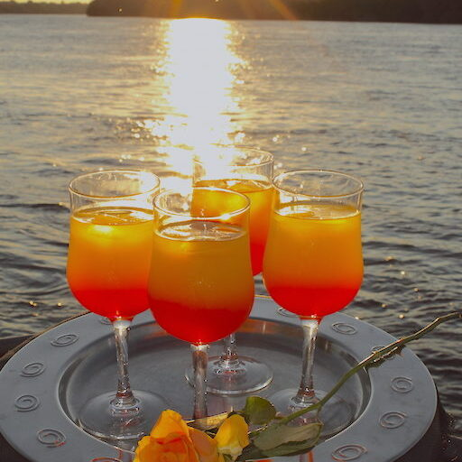 Zambezi Sunset cruise drinks Nguni Lodge Victoria Falls